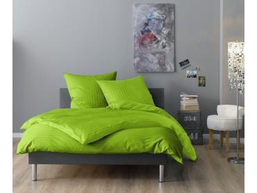Lorena Mako-Satin Streifen-Bettwäsche Verona apfelgrün
