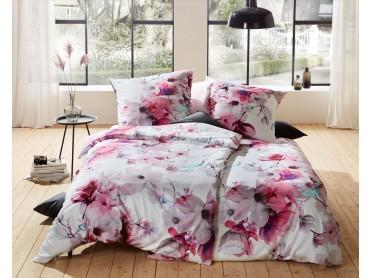 Mako Satin Blumen Bettwäsche Magnolie rosa türkis