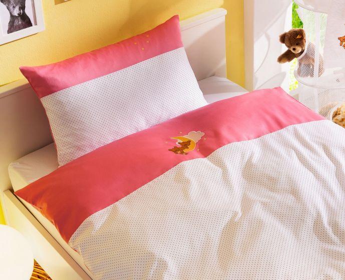 Mako-Satin Kinder Bettwäsche Mond-Bär rosa von Bettwaesche-mit-Stil