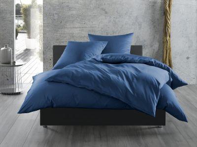 Bettwaesche-mit-Stil Mako-Satin / Baumwollsatin Bettwäsche uni / einfarbig Jeans Blau
