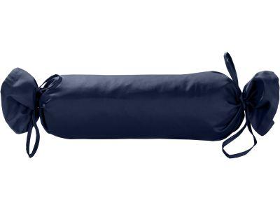 Mako Satin / Baumwollsatin Nackenrollen Bezug uni / einfarbig dunkelblau 15x40 cm mit Bändern