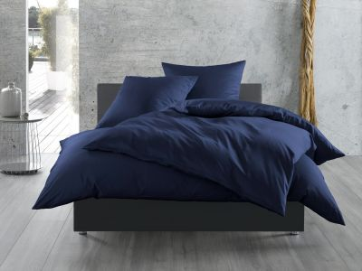 Bettwaesche-mit-Stil Mako-Satin / Baumwollsatin Bettwäsche 155x220 uni / einfarbig dunkelblau