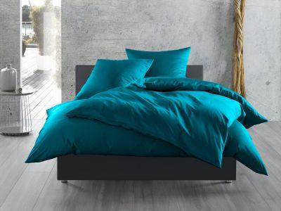 Bettwaesche-mit-Stil Mako-Satin / Baumwollsatin Bettwäsche uni / einfarbig petrol blau