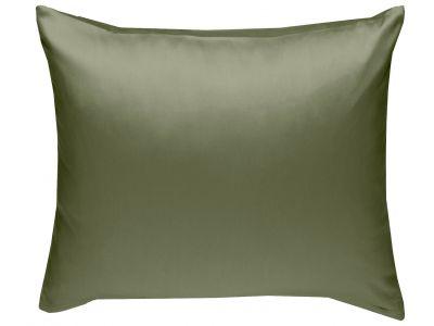 Mako Satin Kissenbezug uni dunkelgrün (oliv) - viele Größen