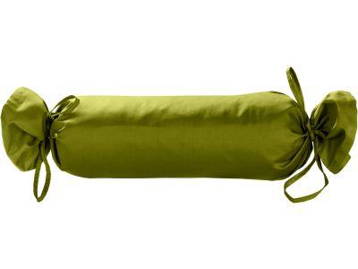 Mako Satin / Baumwollsatin Nackenrollen Bezug uni / einfarbig grün 15x40 cm mit Bändern