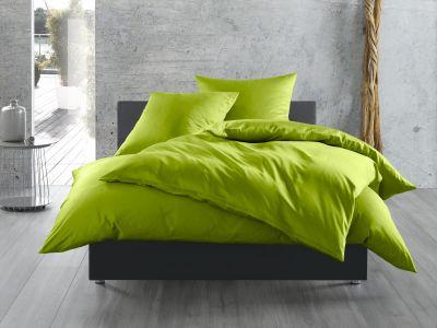 Mako Satin / Baumwollsatin Bettwäsche 200x220 cm uni / einfarbig grün