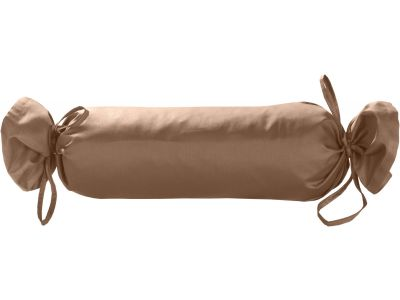 Mako Satin / Baumwollsatin Nackenrollen Bezug uni / einfarbig hellbraun 15x40 cm mit Bändern