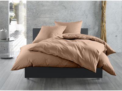 Bettwaesche-mit-Stil Mako-Satin / Baumwollsatin Bettwäsche uni / einfarbig hellbraun