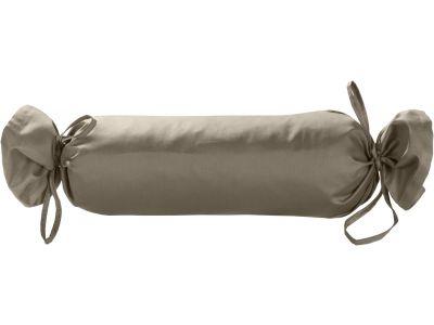 Mako Satin / Baumwollsatin Nackenrollen Bezug uni / einfarbig braun 15x40 cm mit Bändern