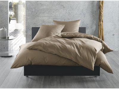 Mako Satin Bettwäsche 155x200 cm uni / einfarbig braun (taupe)