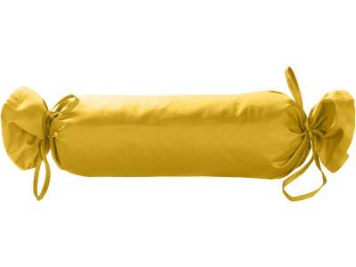 Mako Satin / Baumwollsatin Nackenrollen Bezug uni / einfarbig gelb 15x40 cm mit Bändern