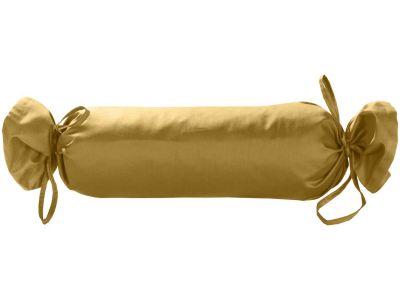 Mako Satin / Baumwollsatin Nackenrollen Bezug uni / einfarbig gold 15x40 cm mit Bändern