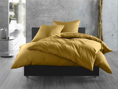 Bettwaesche-mit-Stil Mako-Satin / Baumwollsatin Bettwäsche uni / einfarbig gold