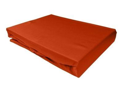 Bettwaesche-mit-Stil Mako-Satin Spannbettlaken orange
