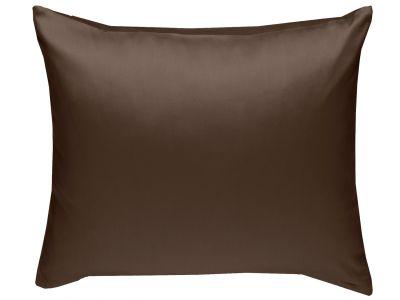 Mako Satin Kissenbezug uni dunkelbraun - viele Größen