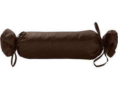 Mako Satin / Baumwollsatin Nackenrollen Bezug uni / einfarbig dunkelbraun 15x40 cm mit Bändern
