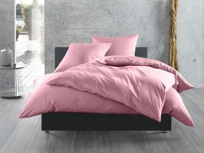 Bettwaesche-mit-Stil Mako-Satin / Baumwollsatin Bettwäsche uni / einfarbig rosa