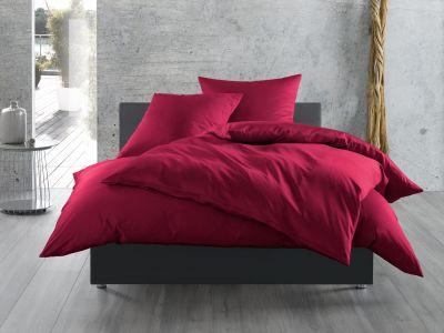 Mako Satin Bettwäsche 155x200 cm uni / einfarbig pink