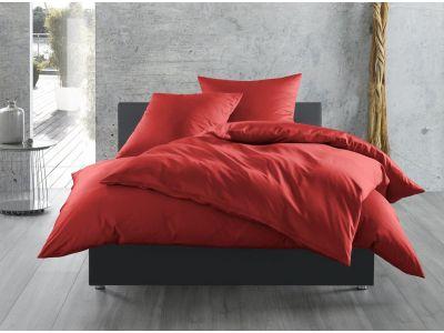 Bettwaesche-mit-Stil Mako-Satin / Baumwollsatin Bettwäsche 155x220 uni / einfarbig rot