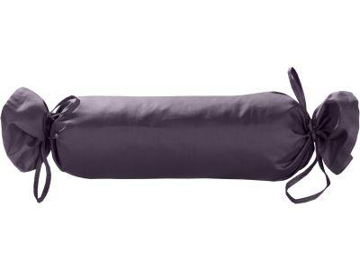 Mako Satin / Baumwollsatin Nackenrollen Bezug uni / einfarbig lila 15x40 cm mit Bändern