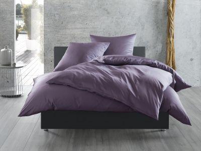 Bettwaesche-mit-Stil Mako-Satin / Baumwollsatin Bettwäsche uni / einfarbig lila