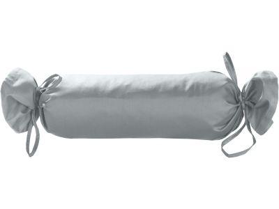 Mako Satin / Baumwollsatin Nackenrollen Bezug uni / einfarbig grau 15x40 cm mit Bändern