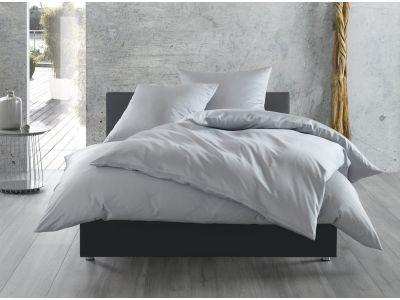 Bettwaesche-mit-Stil Mako-Satin / Baumwollsatin Bettwäsche 155x220 uni / einfarbig grau