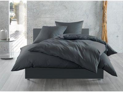 Bettwaesche-mit-Stil Mako-Satin / Baumwollsatin Bettwäsche 155x220 uni / einfarbig anthrazit