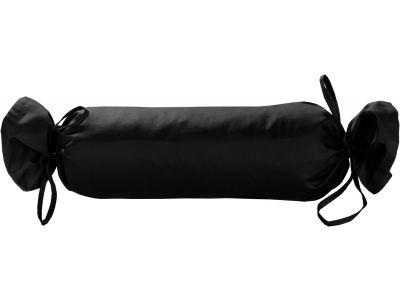 Mako Satin / Baumwollsatin Nackenrollen Bezug uni / einfarbig schwarz 15x40 cm mit Bändern