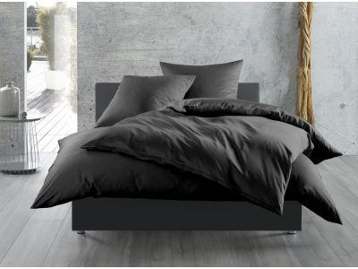 Bettwaesche-mit-Stil Mako-Satin / Baumwollsatin Bettwäsche 155x220 uni / einfarbig schwarz