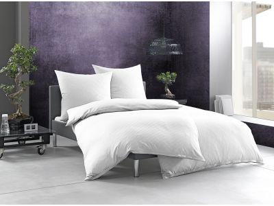 """Bettwaesche-mit-Stil Mako-Satin Damast Streifen Bettwäsche 155x220 """"Linea"""" weiß 4mm gestreift"""