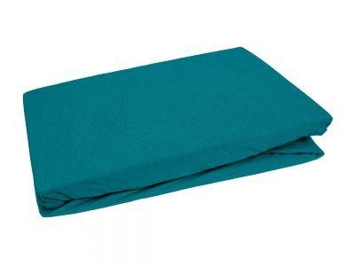Bettwaesche-mit-Stil Jersey Spannbettlaken petrolblau