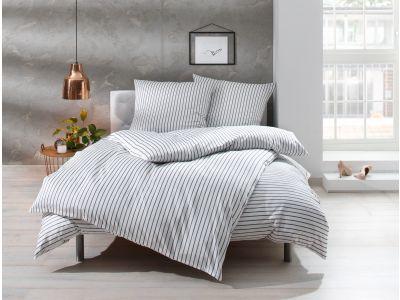 """Mako Satin Streifen Bettwäsche 200x220 cm """"Den Haag"""" grau weiß gestreift"""