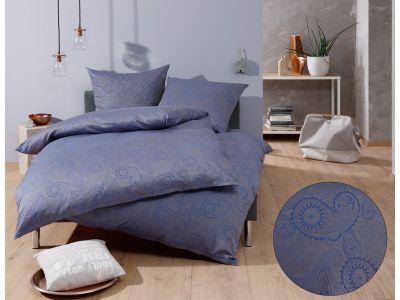 """Bettwaesche-mit-Stil Mako-Satin Damast Paisley Bettwäsche 155x220 """"Davos"""" blau - grau"""