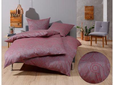 """Bettwaesche-mit-Stil Mako-Satin Damast Paisley Bettwäsche 155x220 """"Davos"""" rot - grau"""