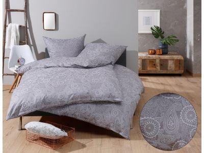 """Bettwaesche-mit-Stil Mako-Satin Damast Paisley Bettwäsche 155x220 """"Davos"""" weiß-grau"""