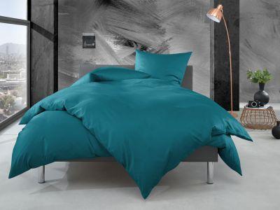 Bettwaesche-mit-Stil Mako Perkal Bettwäsche uni / einfarbig petrol blau