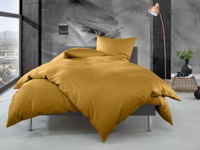 Bettwaesche-mit-Stil Mako Perkal Bettwäsche 155x220 uni / einfarbig gold