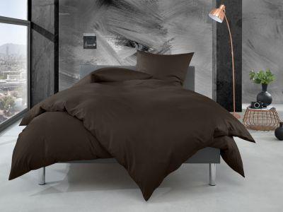 Bettwaesche-mit-Stil Mako Perkal Bettwäsche 155x220 uni / einfarbig espresso braun