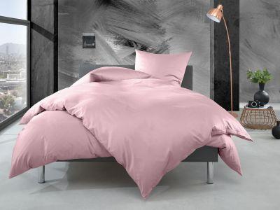 Bettwaesche-mit-Stil Mako Perkal Bettwäsche uni / einfarbig rosa