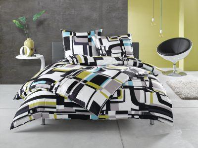 Moderne Mako Satin Karo Bettwäsche 155x200 schwarz weiß