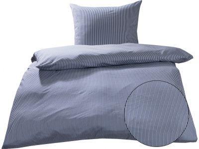 Mako Interlock Jersey Bettwäsche Streifen blau / weiß Garnitur 135x200 + 80x80