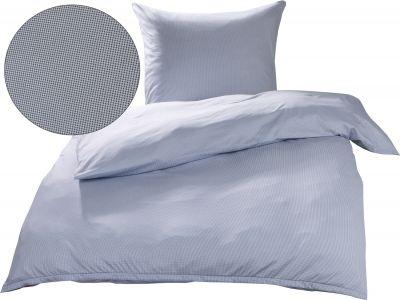 Mako Interlock Jersey Bettwäsche Pepita blau / weiß Garnitur 135x200 + 80x80
