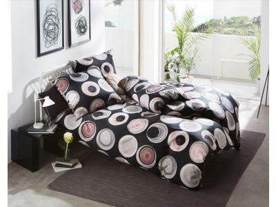 Moderne Mako Satin Bettwäsche Kreise Muster anthrazit rot