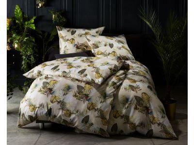 Moderne Mako Satin Bettwäsche Blätter & Palmen beige grün