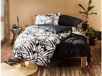 Moderne Mako Satin Wende Bettwäsche Zebra Muster schwarz weiß