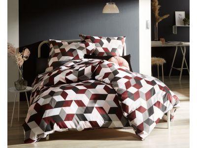 Moderne Mako Satin Bettwäsche 200x220 geometrisch rot grau