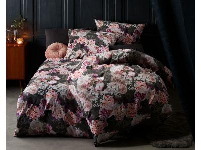 Moderne Mako Satin Blumen Bettwäsche 155x200 Dahlie anthrazit rosé