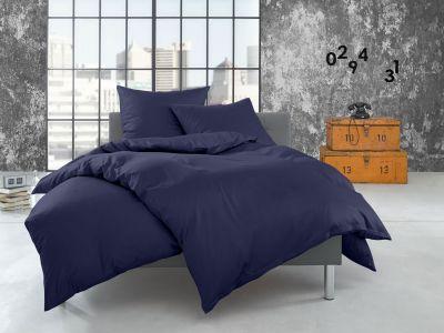 Bettwaesche-mit-Stil Flanell Bettwäsche 200x220 uni / einfarbig dunkelblau