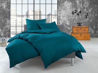 Bettwaesche-mit-Stil Flanell Bettwäsche uni / einfarbig petrol blau